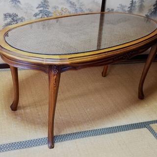 至急! イタリア製 クラシック調リビングテーブル 楕円 猫足 籐...