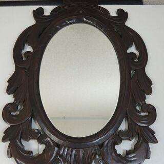 Y.Mirror 壁掛け鏡 木製 葡萄透かし 木枠 43.5cm...