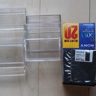 3.5未使用2HDフロッピー9枚とフロッピー、MOサイズのケース