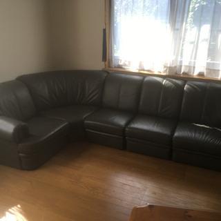 濃いグリーンのソファ