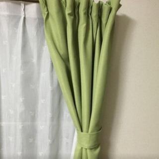 【中古】緑の遮光カーテン【売切・ありがとうございました】