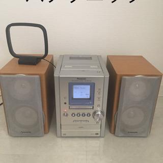 パナソニック ミニコンポ スピーカー CD MD カセット プレ...