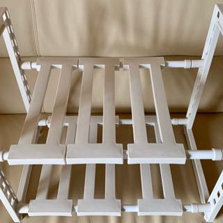 シンク下伸縮棚 組立式 すきま収納 スペースラック2段ホワイト
