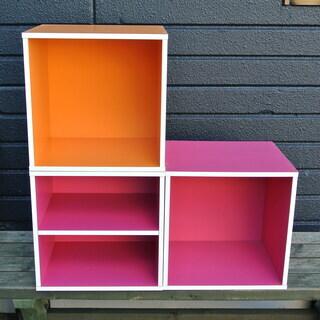 【101502】カラーボックス ピンク2個オレンジ1個セット  ...
