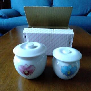 蓋付き かめ 壺 陶器 小物入れ 大小2個セット