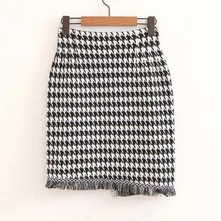 千鳥柄 ニット スカート - 服/ファッション