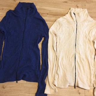 メンズ カーディガン 綿100% 青&白2点 Mサイズ