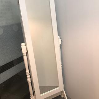 木製 スタンドミラー 姿見 鏡 ホワイト 白 アクセサリー収納付...