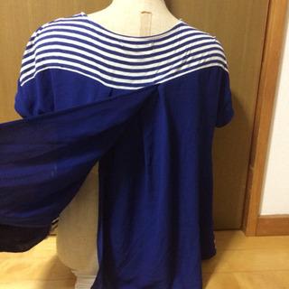 ボーダー カットソー 青 Mサイズ - 服/ファッション