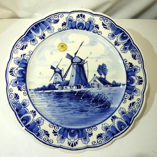 オランダ製 デルフト陶器 飾り皿 [デルフトブルー ハンドペイン...