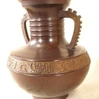 レトロ★古代銅器型ブロンズ製花瓶★鋳銅製陽刻文耳付瓶2.4kg ...