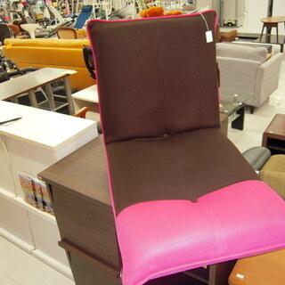 座椅子 かわいい座イス ピンク色と茶色の座椅子 幅:55cm 苫...