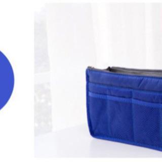 【未使用】バッグインバッグ 軽い 旅行 ポーチ 大容量 収納 ブルー