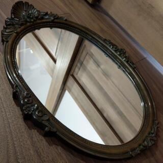 アンティーク【大型 壁掛けミラー】 掛け鏡 高さ56.5cm