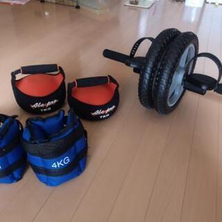 筋トレグッズセット:腹筋ローラー(足用ペダル付き)、ダンベル7k...