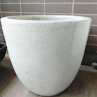 白い陶器の植木鉢 引取限定