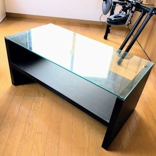 【オシャレ】強化ガラス天板のローテブル