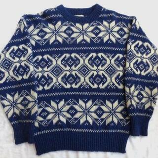 USA製 ALPS 雪柄ウールニットネップセーター 紺 M