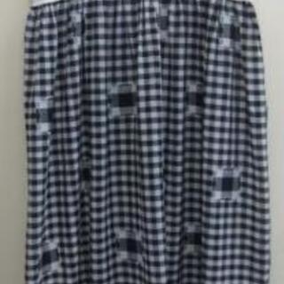 ギンガムチェック柄 ロング丈ワンピース 白×黒 L