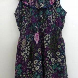 US古着 花柄 ひざ丈フリルワンピース 黒/紫×緑 M