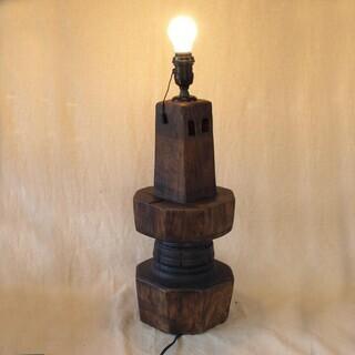レア珍品!時代 車軸製電灯53cm木製ランプ 荷車の車輪か水車歯...