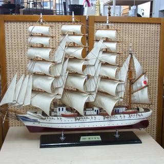 1984 新日本丸 船 オブジェ 置き物 模型 木製 帆船 南12条店