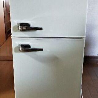 【お取引中】【美品】エーステージ レトロ冷蔵庫 (85L・右開き...