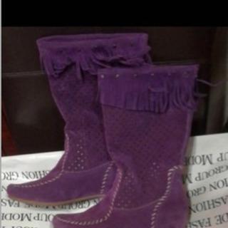 値下げ!ウエスタンブーツ Mサイズ パープル 紫色