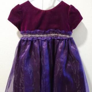 【美品】キャサリンコテージ フォーマルドレス 90 紫 半袖 上品