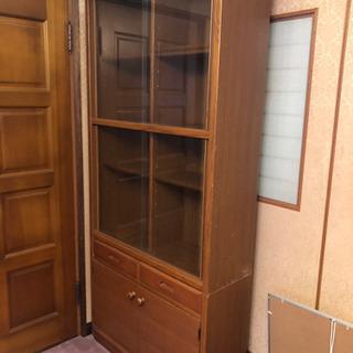 【無料に変更】本棚 ガラス引戸・小物引き出し・戸付収納棚 つき