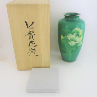◇極美品 未使用 七宝花瓶 牡丹の図 翡翠色◇