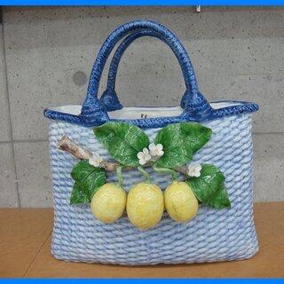 イタリア製 陶器のバスケット型オブジェ 花器 花瓶 フラワーベース
