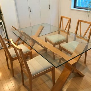 無垢 高級 6人がけガラスダイニングテーブル 椅子5脚