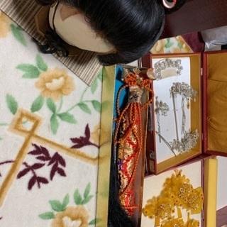 日本髪かつら、かんざし2セット、尾長