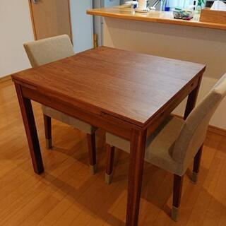 無印良品 無垢ウォールナット材エクステンションテーブルとチェア2脚