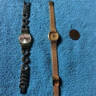CYMAシーマゴールドカラー腕時計(NO刻印有)とSWATCH裏...