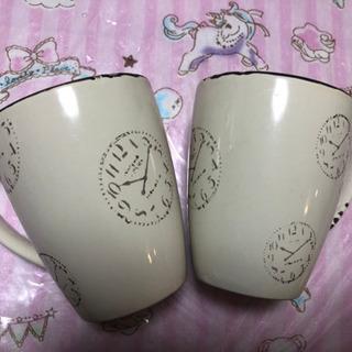 時計柄のマグカップ2つ☆