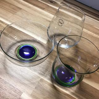 ダンクス・DANSK・ガラスの器・コップ3点セット ほぼ新品
