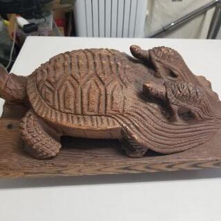 木製 親子亀の置物 土台付き