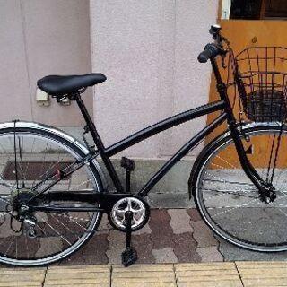 27吋 シティバイク 外装6段/LEDオート/ブラック