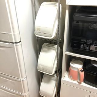 メタルラック付きゴミ箱三段