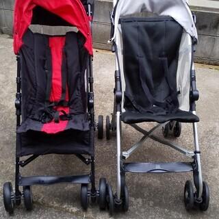 ベビーカー(2台)赤&黒 折りたたみ式