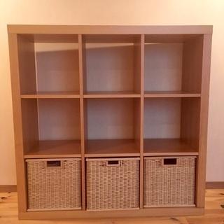 木製飾り棚 収納カゴ付き 4000円