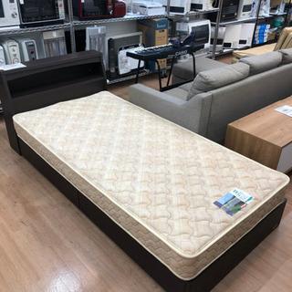 収納付きシングルベッド マットレス付き フランスベッド 照明付き