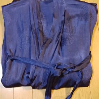 シルク製ガウン バスローブ 紺色 ベルト付