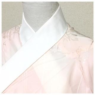 極上 美品 長襦袢 大サイズ 単衣仕立て ピンククリーム 身丈...