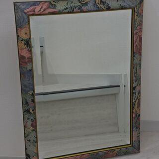 壁掛け鏡 ウォールミラー 56×41cm★イタリア製 花柄フレー...