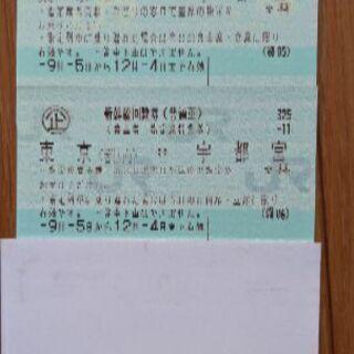 (新幹線回数券)東京↔宇都宮  12月4日迄 2枚