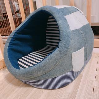確定★ ペットハウス ベッド クッション 犬 猫 デニム