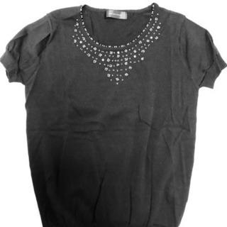黒ビーズ刺繍の半袖カットソー Lサイズ